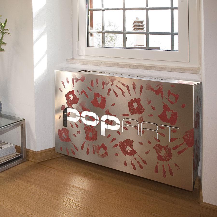 copricalorifero pop art acciaio mani rosso gnstyle
